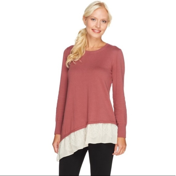 LOGO Cotton Cashmere Sweater with Lace Trim 20a972089